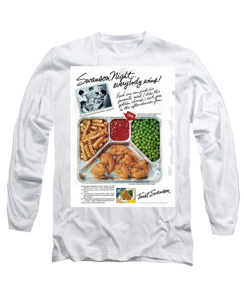 1963 Long Sleeve T-Shirt featuring the photograph Tv Dinner Ad, 1963 by Granger
