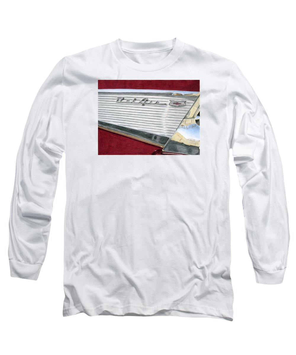 Classic Long Sleeve T-Shirt featuring the drawing 1957 Chevrolet Bel Air Convertible by Rob De Vries