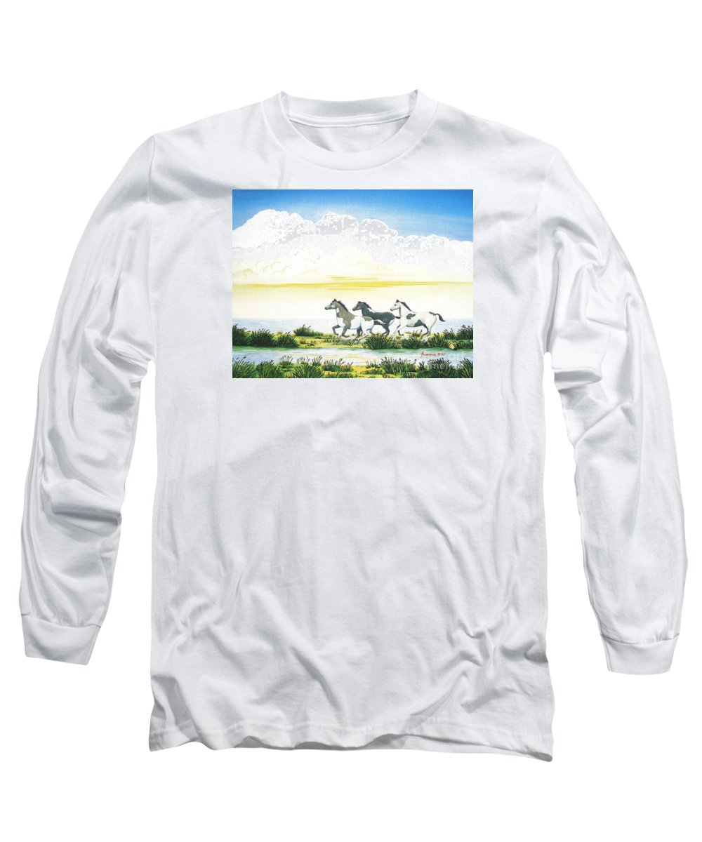 Chincoteague Long Sleeve T-Shirt featuring the painting Indian Ponies by Jerome Stumphauzer