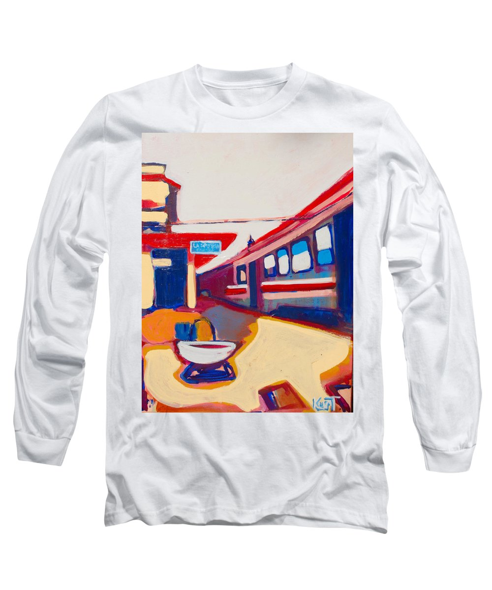 Train Station Long Sleeve T-Shirt featuring the painting Locale by Kurt Hausmann
