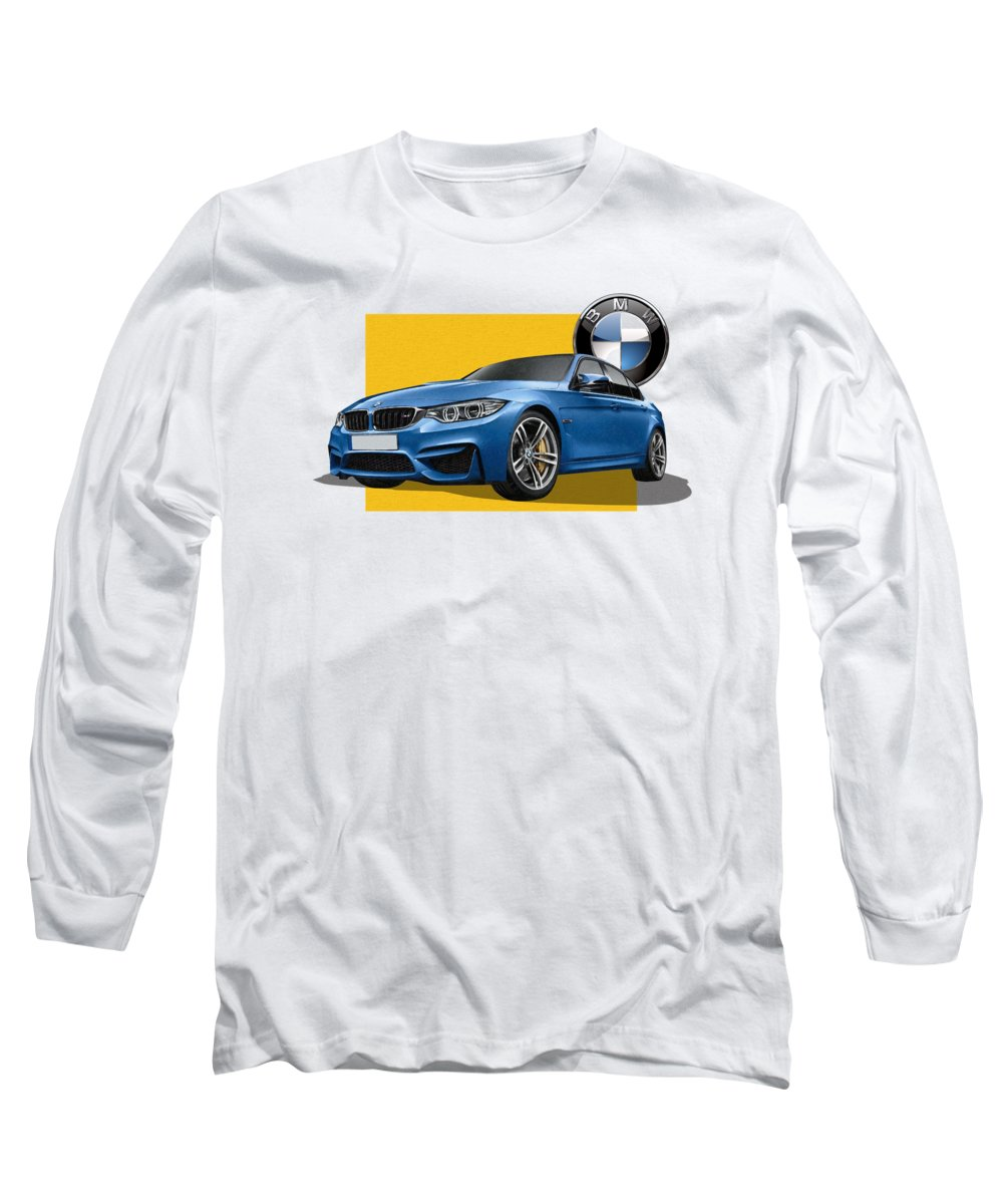 �bmw� Collection By Serge Averbukh Long Sleeve T-Shirt featuring the photograph 2016 B M W M 3 Sedan With 3 D Badge by Serge Averbukh