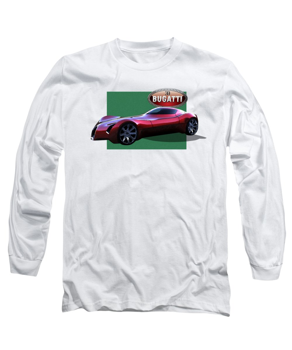 �bugatti� By Serge Averbukh Long Sleeve T-Shirt featuring the photograph 2025 Bugatti Aerolithe Concept With 3 D Badge by Serge Averbukh