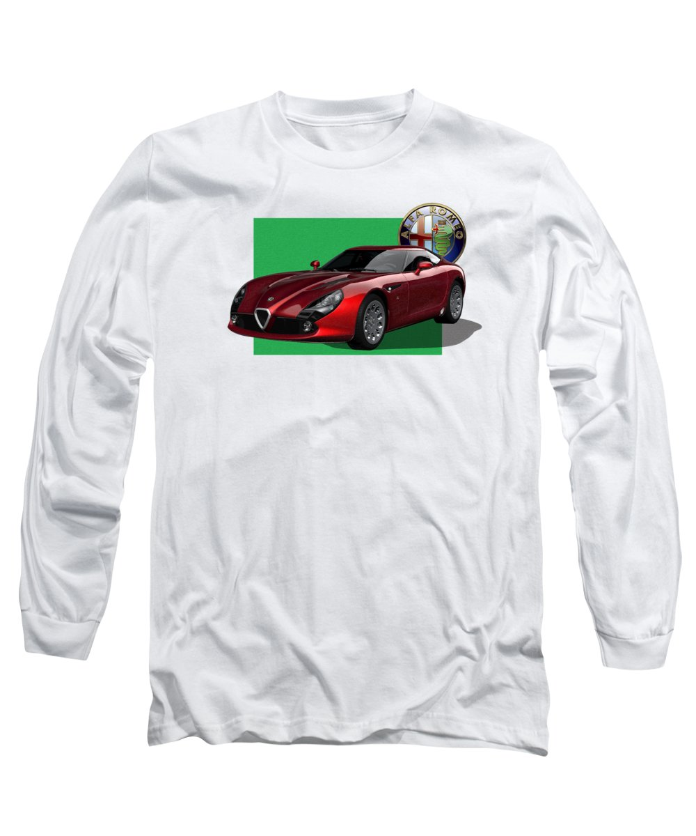�alfa Romeo� By Serge Averbukh Long Sleeve T-Shirt featuring the photograph Alfa Romeo Zagato T Z 3 Stradale With 3 D Badge by Serge Averbukh