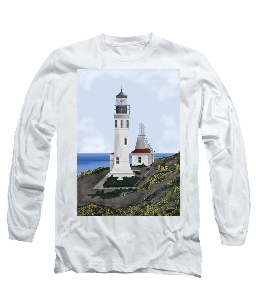Lighthouse Long Sleeve T-Shirt featuring the painting Anacapa Lighthouse California by Anne Norskog
