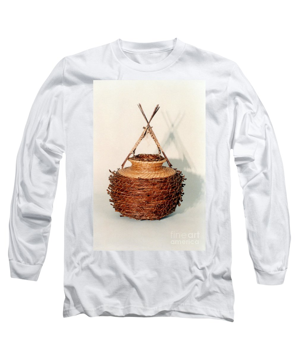 Fibre Long Sleeve T-Shirt featuring the mixed media Bound And Unified In Contrast by Kerryn Madsen-Pietsch