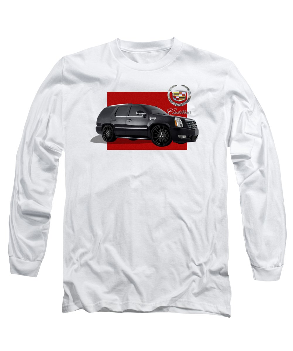 �cadillac� By Serge Averbukh Long Sleeve T-Shirt featuring the photograph Cadillac Escalade With 3 D Badge by Serge Averbukh