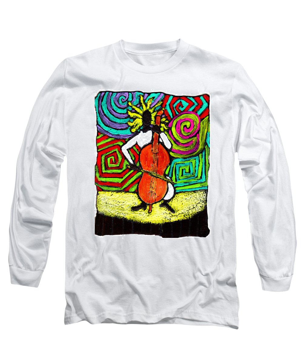 Music Long Sleeve T-Shirt featuring the painting Cello Soloist by Wayne Potrafka
