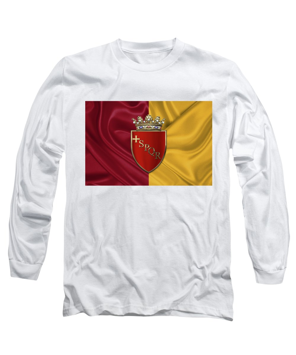 Rome Has The Status Of A Global City. Monuments And Museums Such As The Vatican Museums And The Colosseum Are Among The World's Most Visited Tourist Destinations With Both Locations Receiving Millions Of Tourists A Year. Rome Hosted The 1960 Summer Olympics And Is The Seat Of United Nations' Food And Agriculture Organization (fao). Long Sleeve T-Shirt featuring the photograph Coat Of Arms Of Rome Over Flag Of Rome by Serge Averbukh