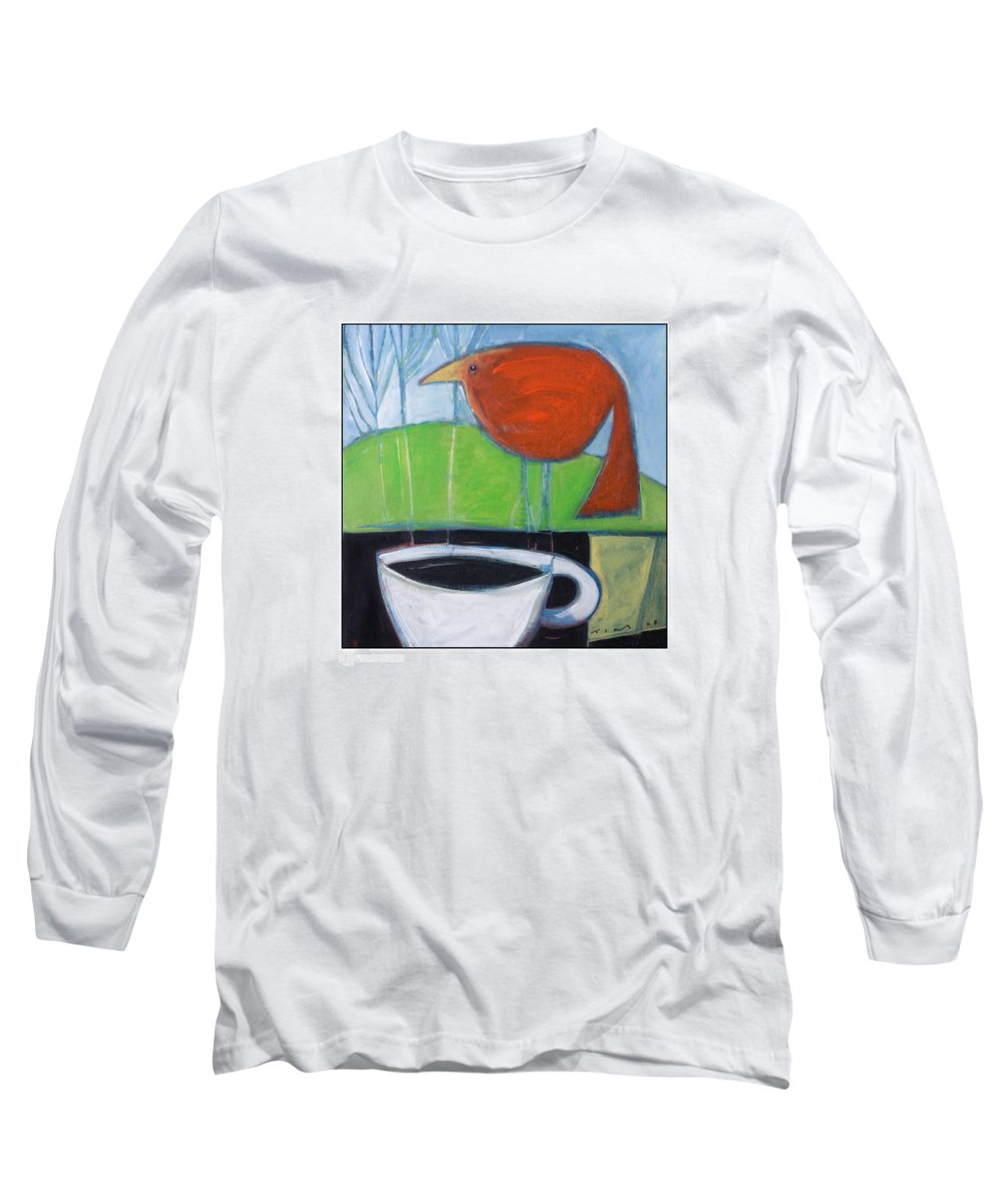 Bird Long Sleeve T-Shirt featuring the painting Coffee With Red Bird by Tim Nyberg