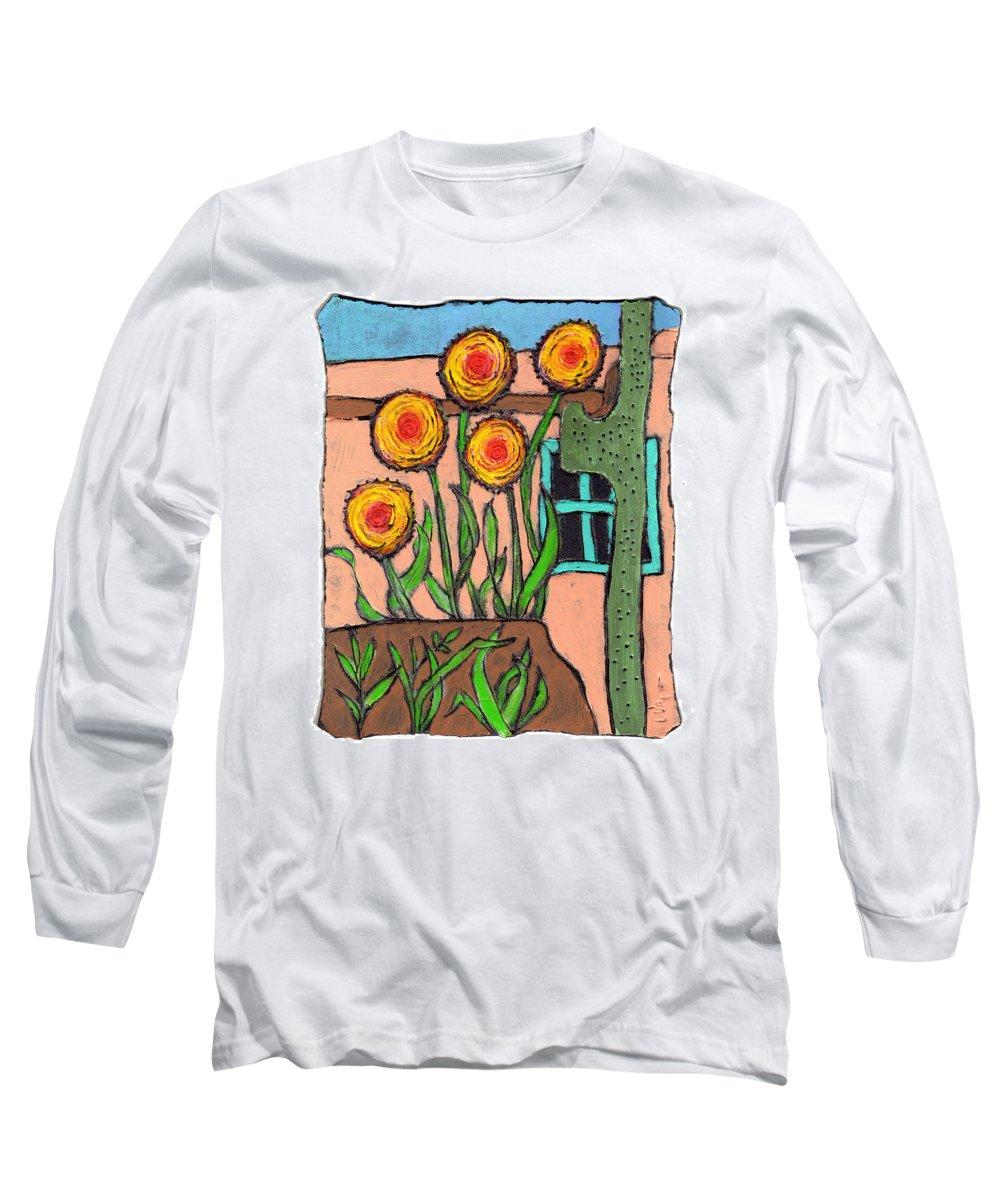 Desert Long Sleeve T-Shirt featuring the painting Desert Fantasy by Wayne Potrafka
