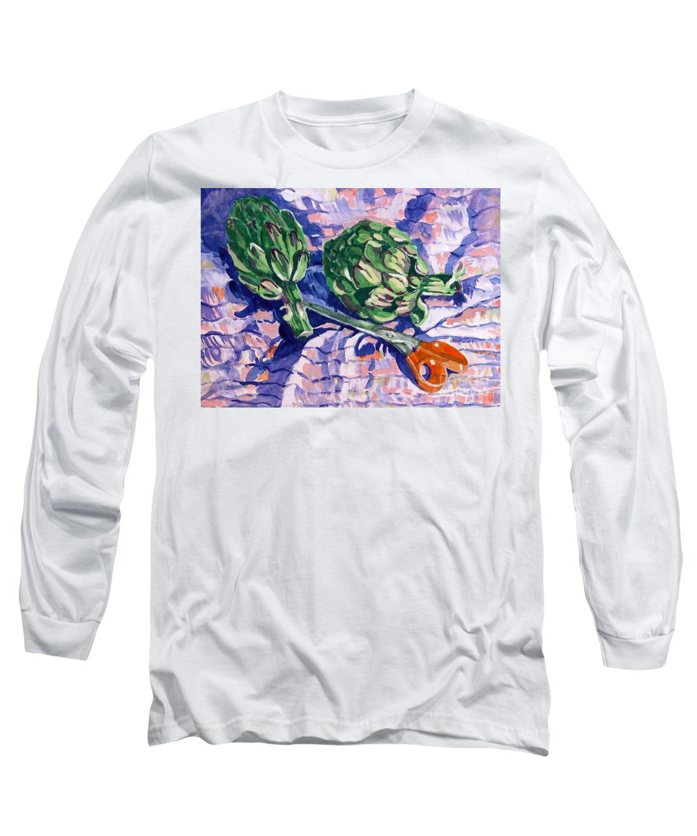 Greens Long Sleeve T-Shirt featuring the painting Edible Flowers by Jan Bennicoff