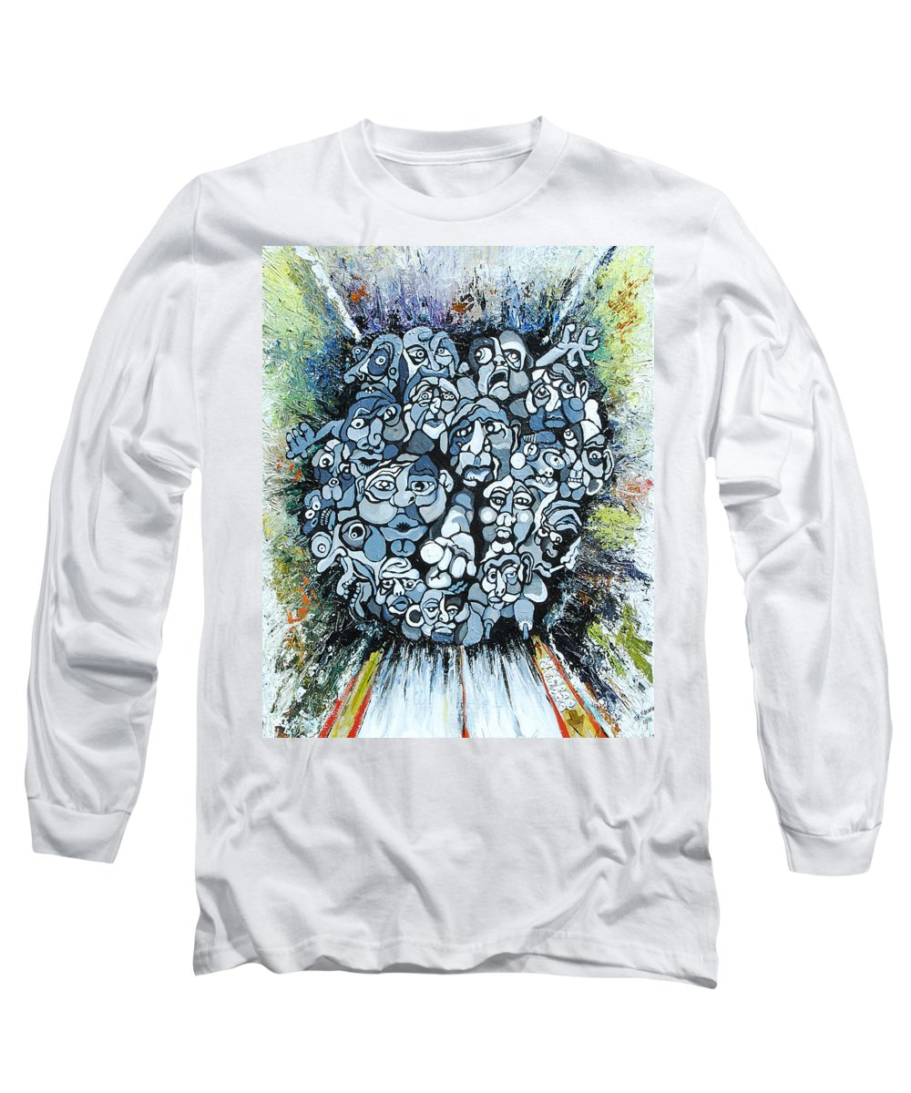 Surreal Long Sleeve T-Shirt featuring the painting Elevator by Julie Fischer