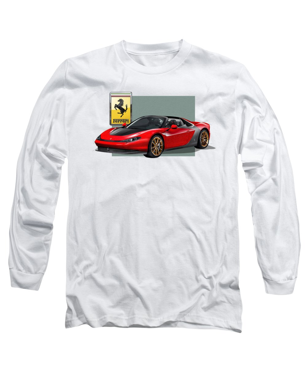 �ferrari� Collection By Serge Averbukh Long Sleeve T-Shirt featuring the photograph Ferrari Sergio With 3d Badge by Serge Averbukh