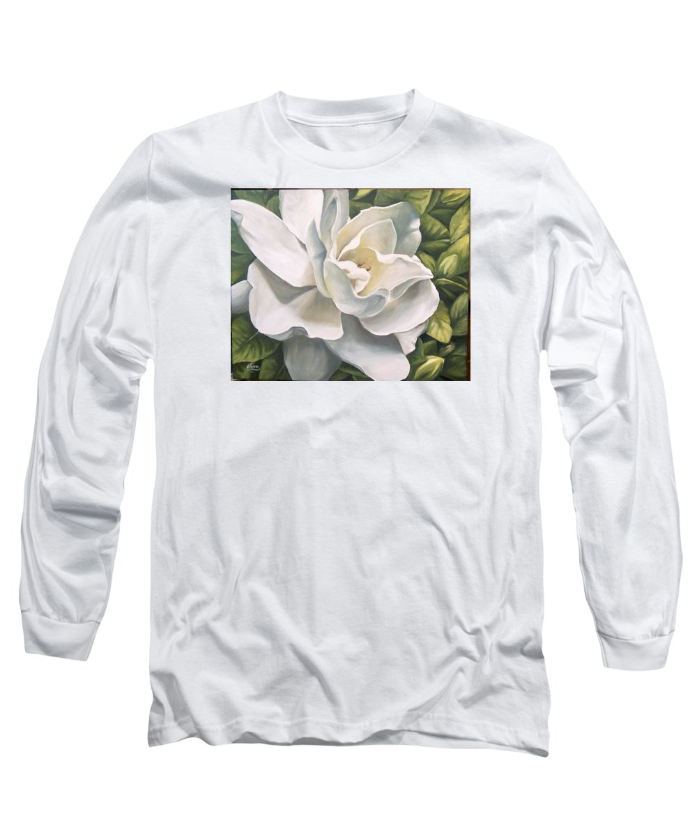 Flower Long Sleeve T-Shirt featuring the painting Gardenia by Natalia Tejera
