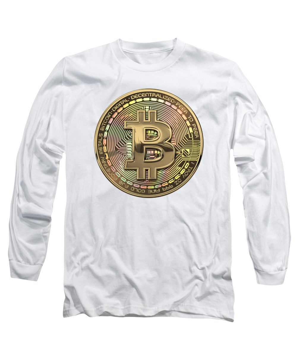 'money' Collection By Serge Averbukh Long Sleeve T-Shirt featuring the photograph Gold Bitcoin Effigy Over White Leather by Serge Averbukh
