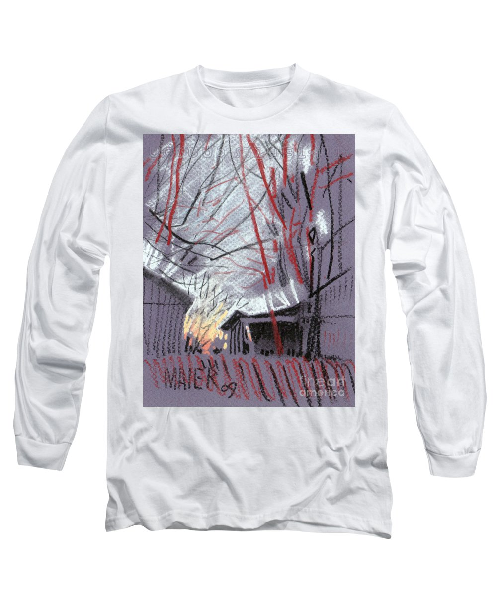 Pastel Long Sleeve T-Shirt featuring the drawing Grey Evening by Donald Maier