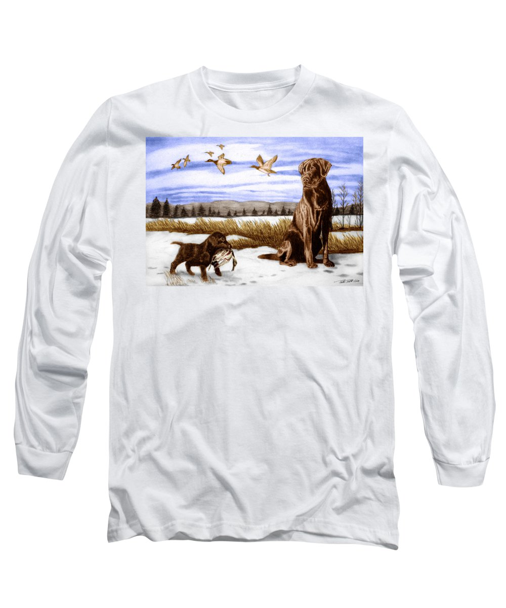 In Training Long Sleeve T-Shirt featuring the drawing In Training by Peter Piatt