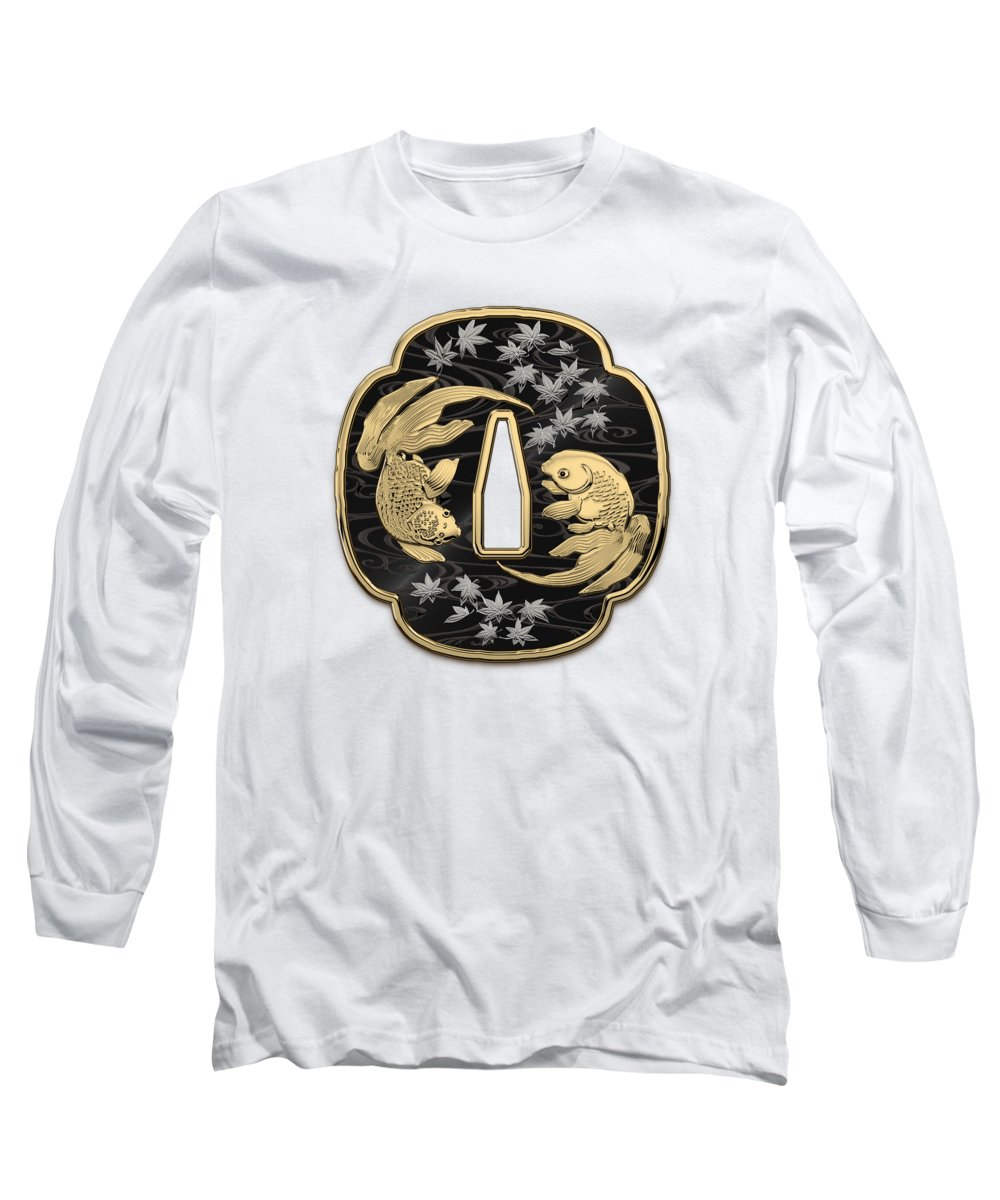 'treasures Of Japan' Collection By Serge Averbukh Long Sleeve T-Shirt featuring the photograph Japanese Katana Tsuba - Twin Gold Fish On Black Steel Over White Leather by Serge Averbukh