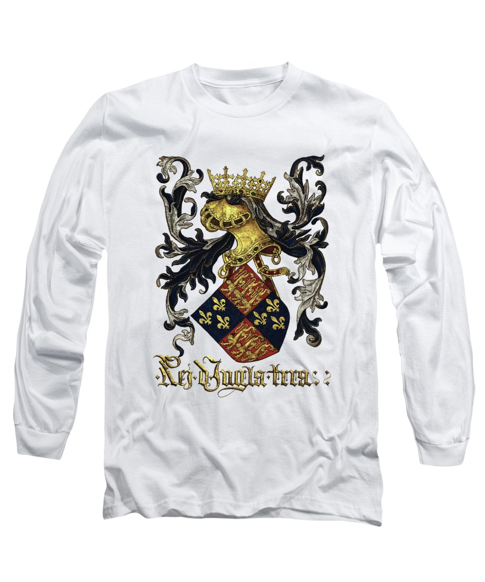 'roll Of Arms� Collection By Serge Averbukh Long Sleeve T-Shirt featuring the photograph King Of England Coat Of Arms - Livro Do Armeiro-mor by Serge Averbukh