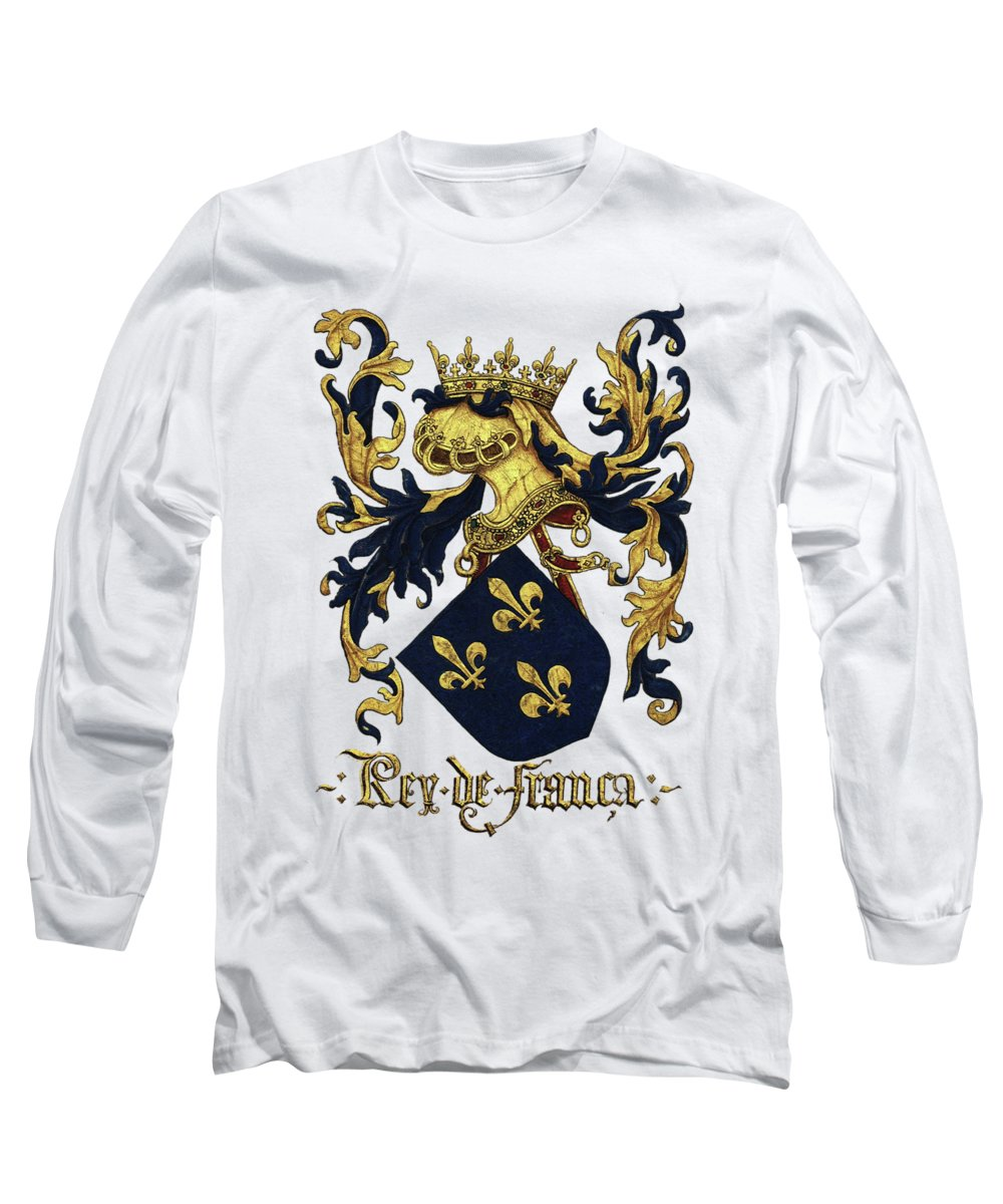 'roll Of Arms� Collection By Serge Averbukh Long Sleeve T-Shirt featuring the photograph King Of France Coat Of Arms - Livro Do Armeiro-mor by Serge Averbukh