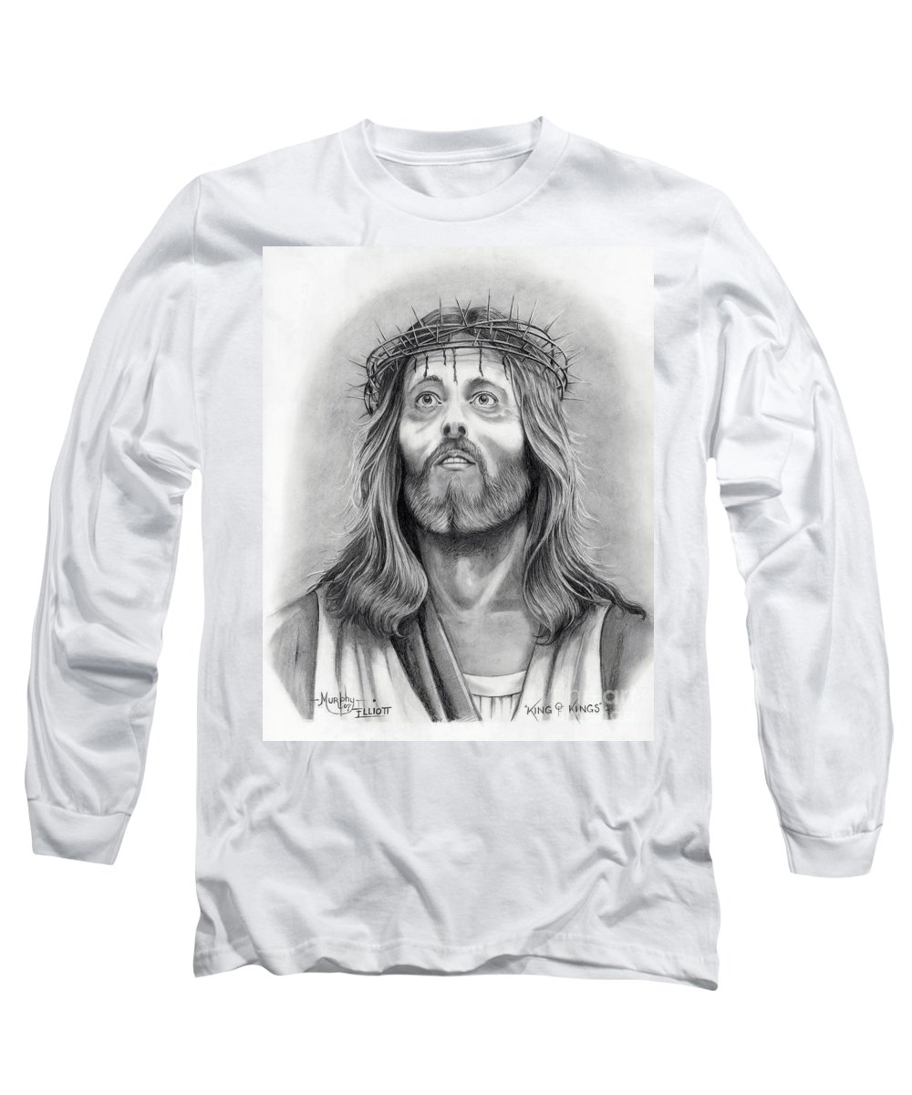 Jesus Christ Long Sleeve T-Shirt featuring the drawing King Of Kings by Murphy Elliott