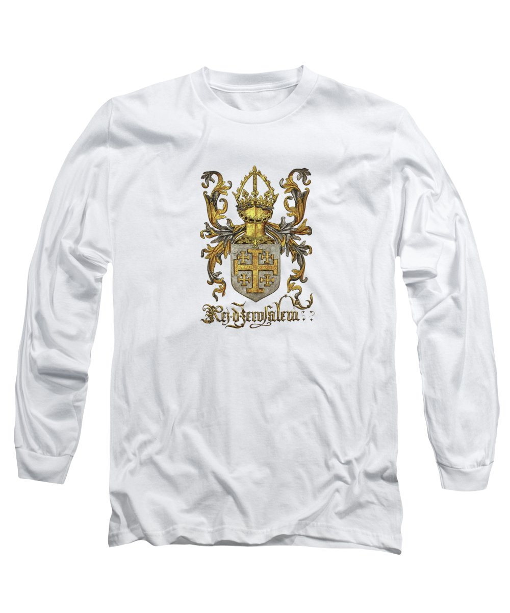 'roll Of Arms� Collection By Serge Averbukh Long Sleeve T-Shirt featuring the photograph Kingdom Of Jerusalem Coat Of Arms - Livro Do Armeiro-mor by Serge Averbukh
