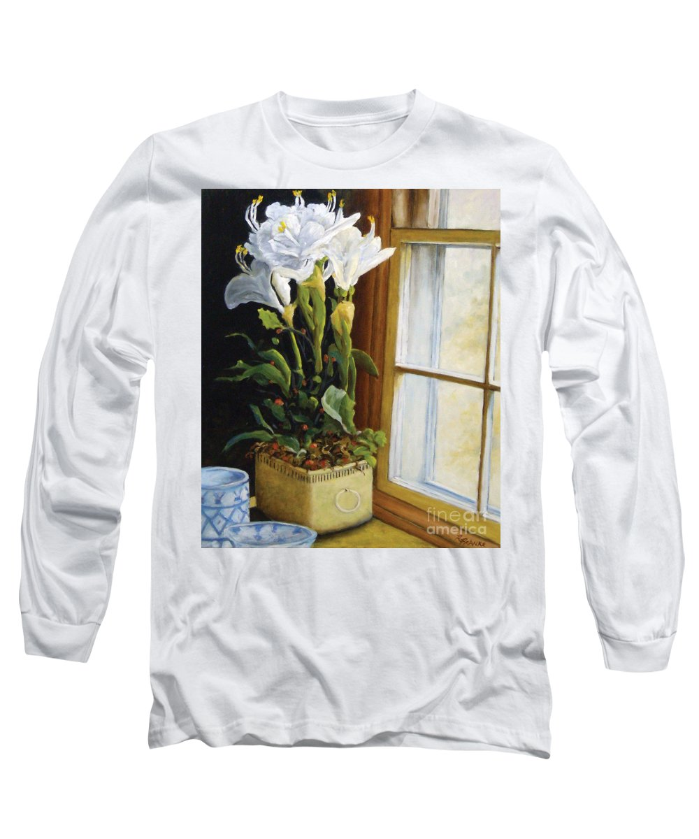 Art Long Sleeve T-Shirt featuring the painting Lillies by Richard T Pranke