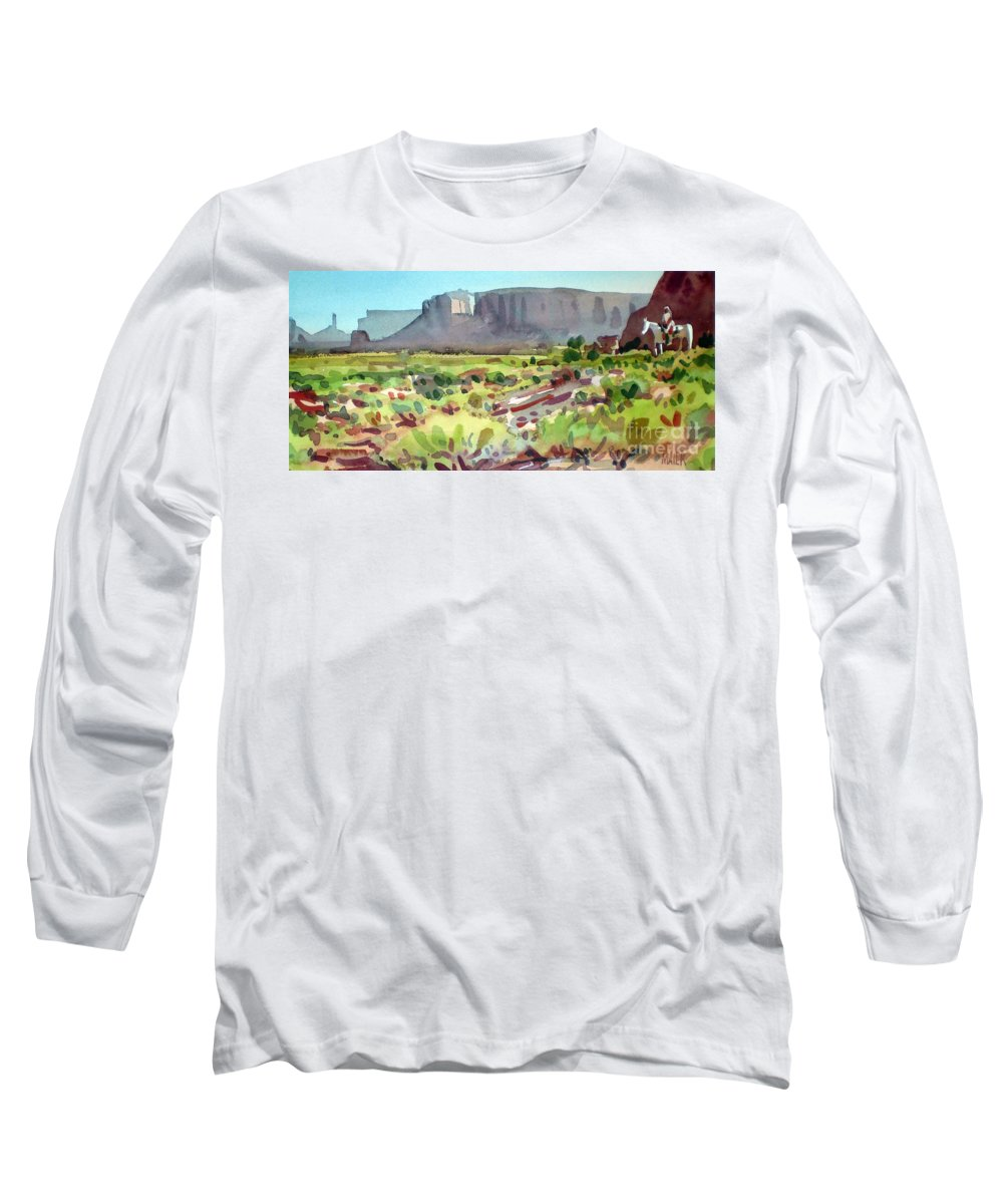Navajo Long Sleeve T-Shirt featuring the painting Lone Rider by Donald Maier