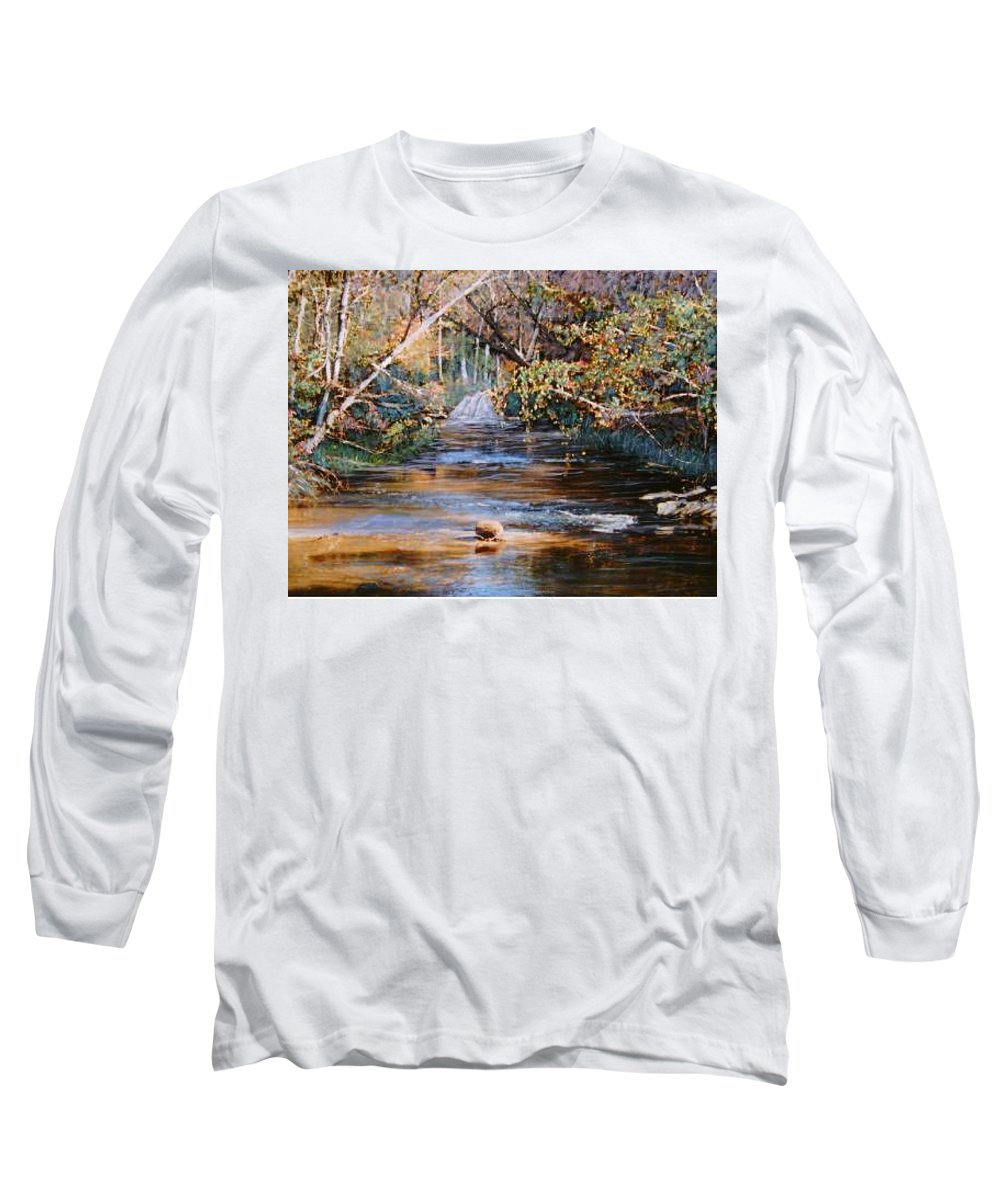River; Waterfalls Long Sleeve T-Shirt featuring the painting My Secret Place by Ben Kiger