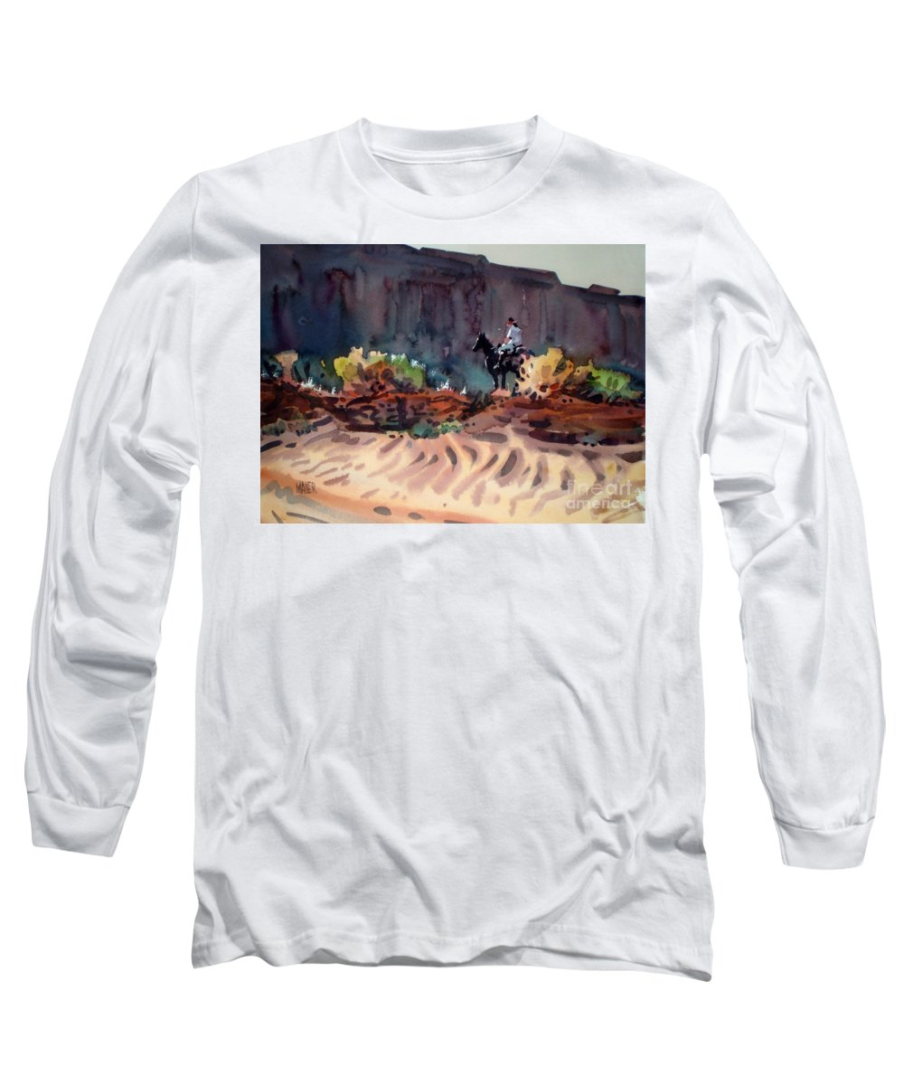 Equestrian Long Sleeve T-Shirt featuring the painting Navajo Rider by Donald Maier
