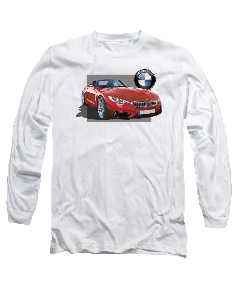 �bmw� Collection By Serge Averbukh Long Sleeve T-Shirt featuring the photograph Red 2018 B M W Z 5 With 3 D Badge by Serge Averbukh