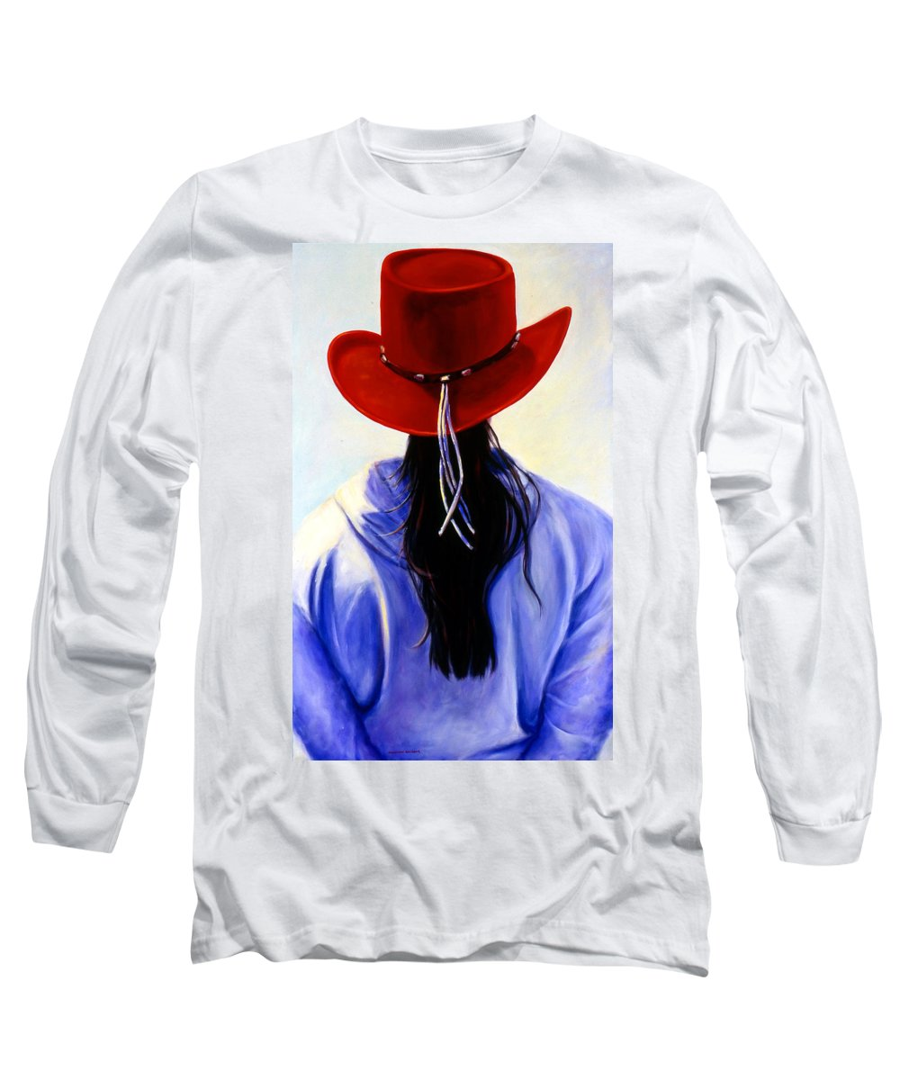 Red Long Sleeve T-Shirt featuring the painting Red Ahead by Shannon Grissom