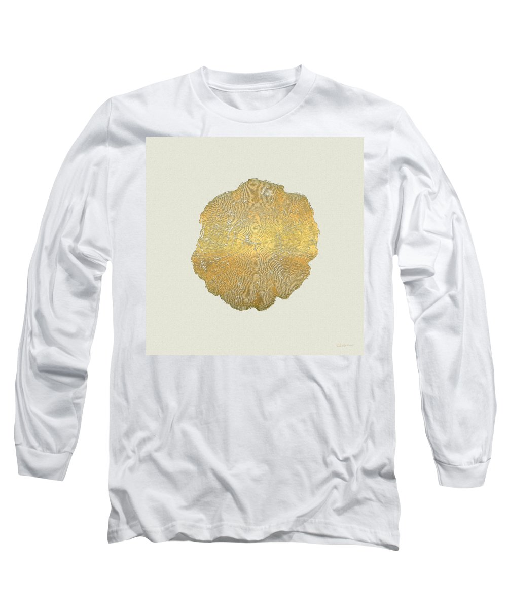Inconsequential Beauty By Serge Averbukh Long Sleeve T-Shirt featuring the photograph Rings Of A Tree Trunk Cross-section In Gold On Linen by Serge Averbukh