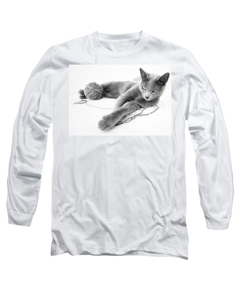 Russian Long Sleeve T-Shirt featuring the photograph Russian Blue by Nailia Schwarz