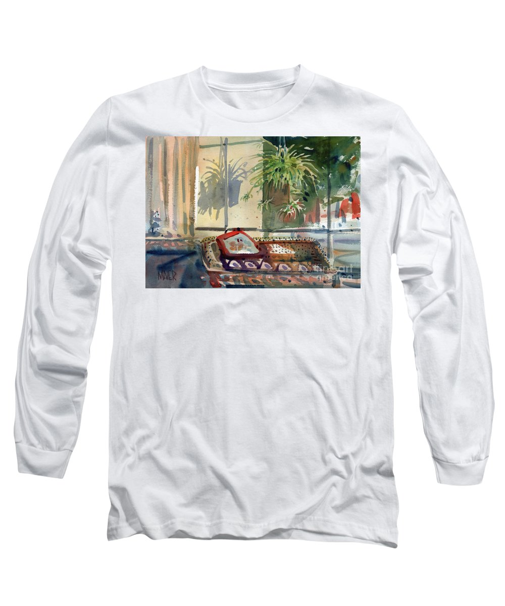 Spider Plant Long Sleeve T-Shirt featuring the painting Spider Plant In The Window by Donald Maier