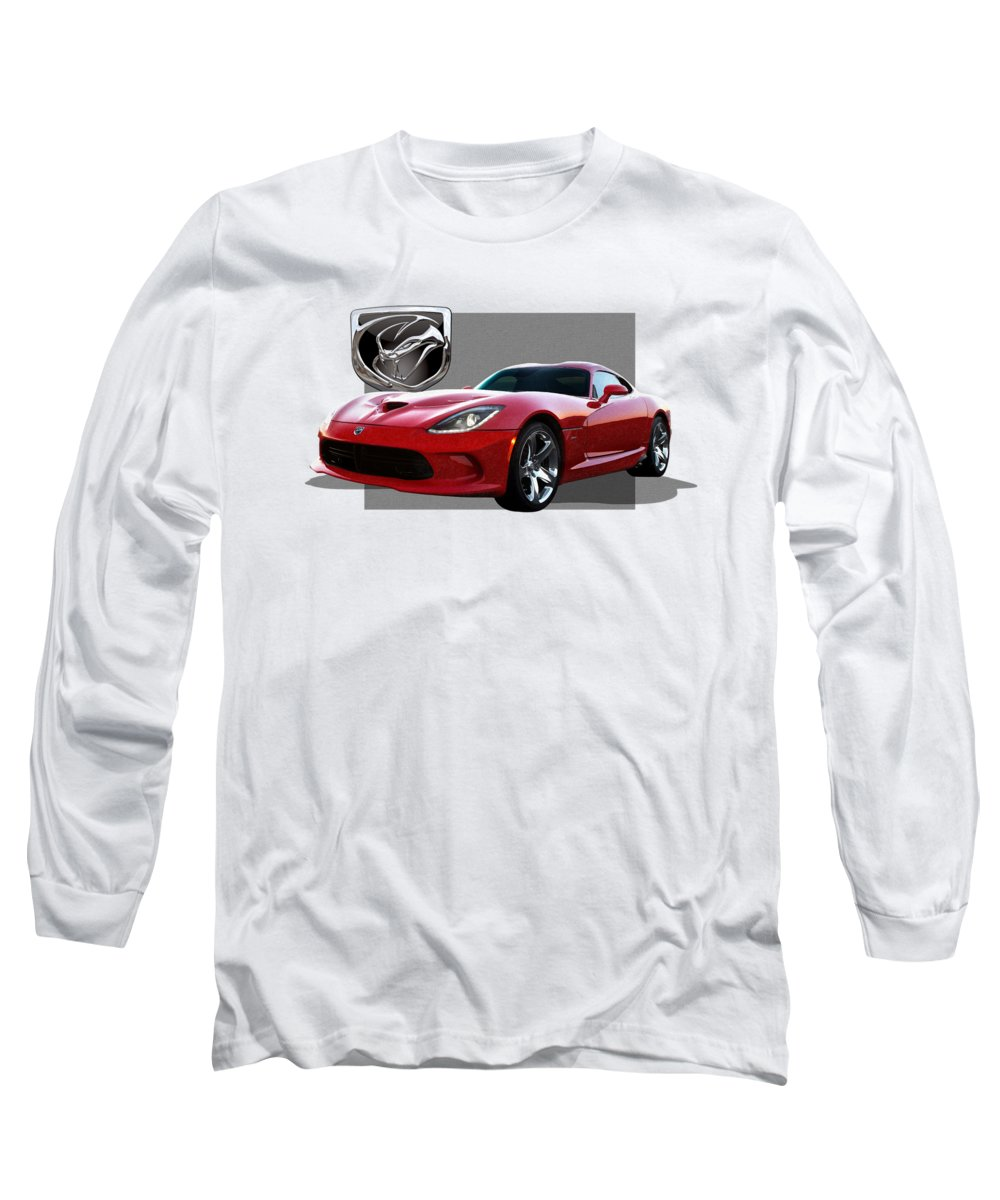 'dodge Viper' By Serge Averbukh Long Sleeve T-Shirt featuring the photograph S R T Viper with 3 D Badge by Serge Averbukh