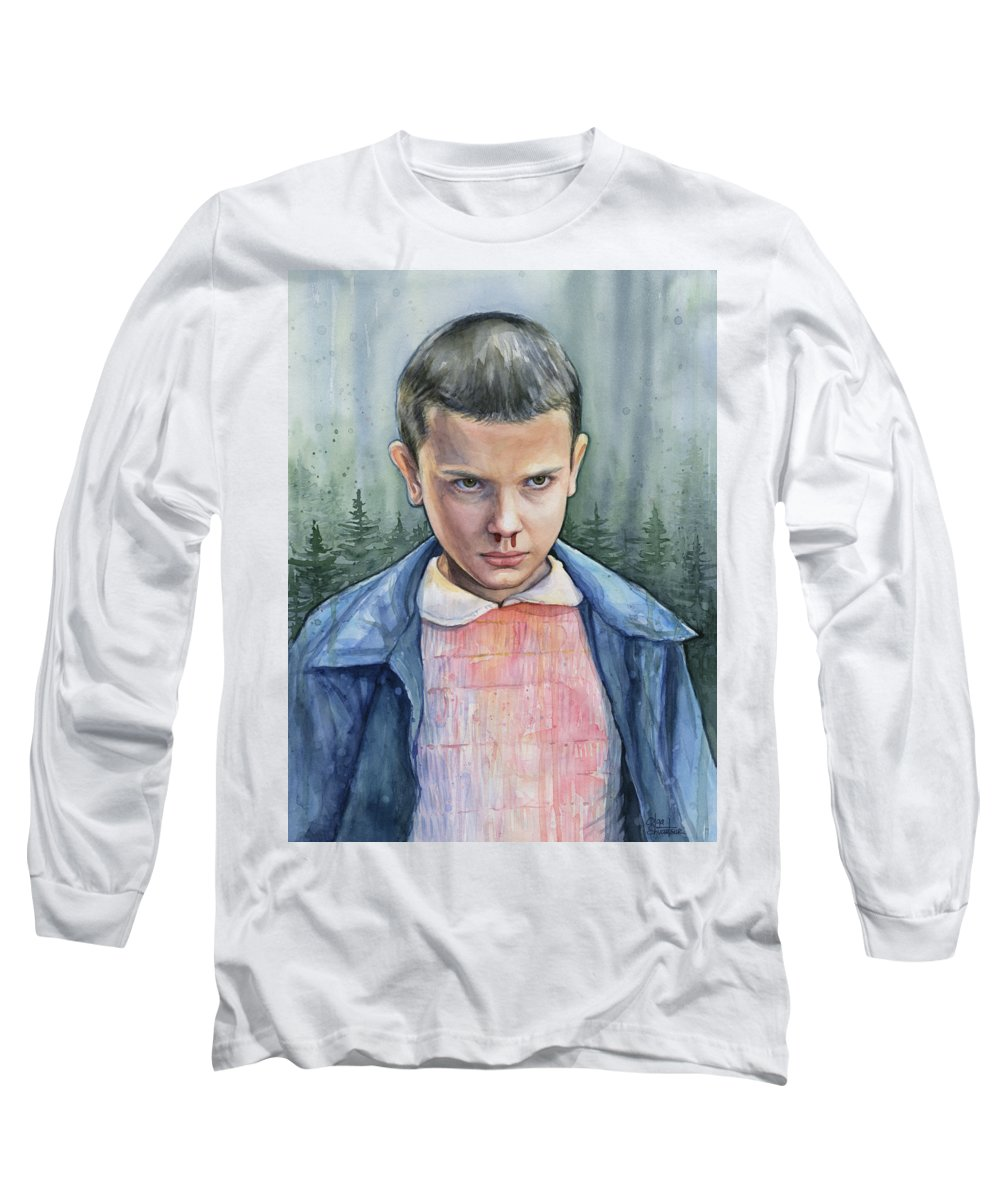 Strager Things Long Sleeve T-Shirt featuring the painting Stranger Things Eleven Portrait by Olga Shvartsur
