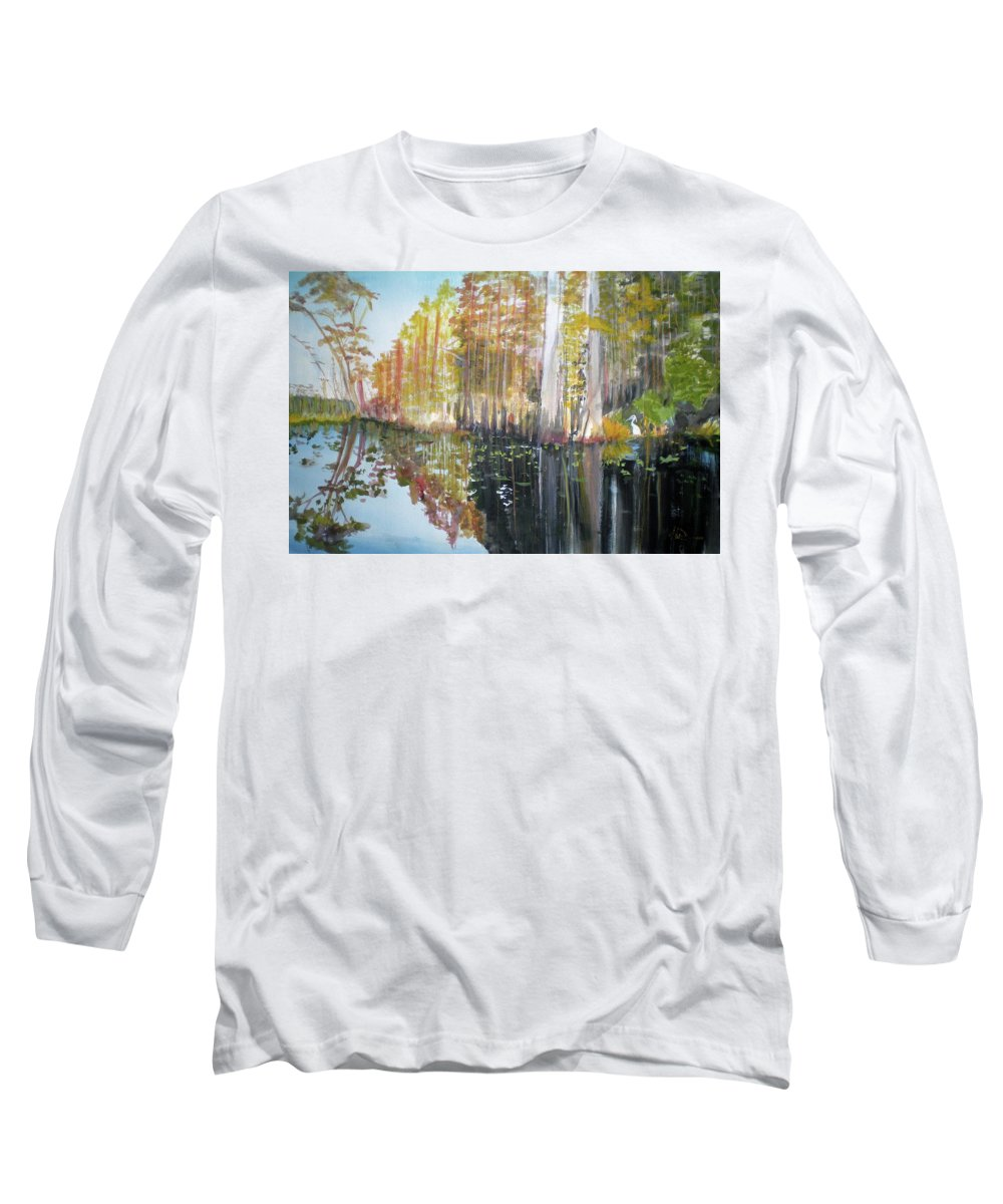 Landscape Of A South Florida Swamp At Dusk Feels Very Wild Long Sleeve T-Shirt featuring the painting Swamp Reflection by Hal Newhouser