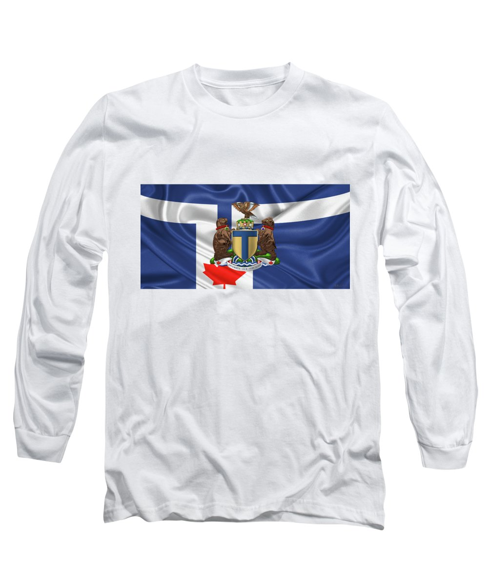 'cities Of The World' Collection By Serge Averbukh Long Sleeve T-Shirt featuring the photograph Toronto - Coat Of Arms Over City Of Toronto Flag by Serge Averbukh