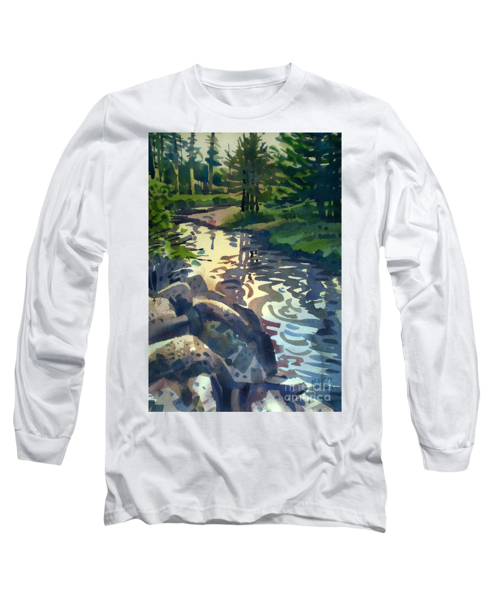 Stream Long Sleeve T-Shirt featuring the painting Up With The Fishes by Donald Maier