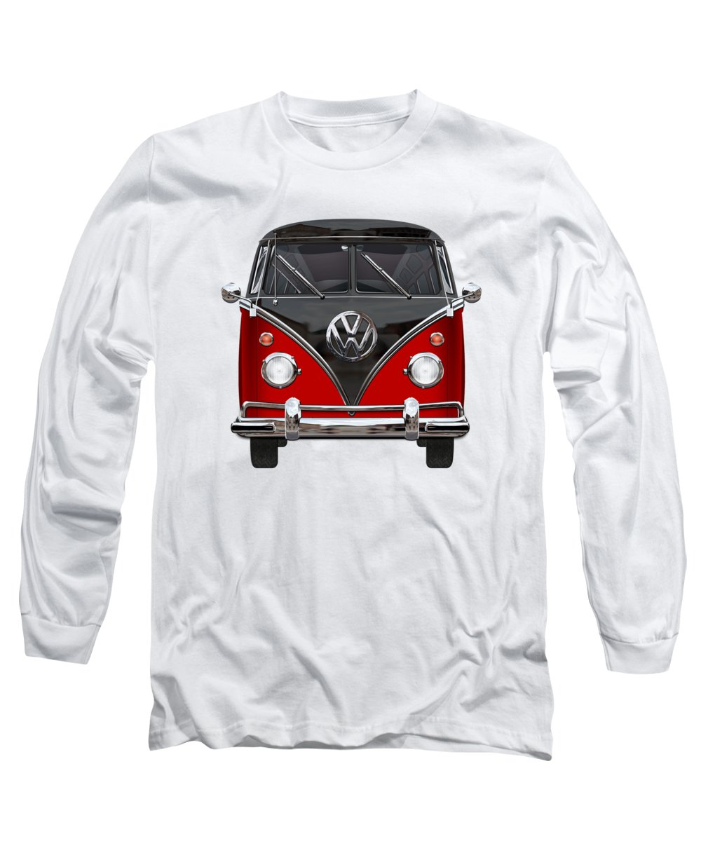 'volkswagen Type 2' Collection By Serge Averbukh Long Sleeve T-Shirt featuring the photograph Volkswagen Type 2 - Red And Black Volkswagen T 1 Samba Bus On White by Serge Averbukh