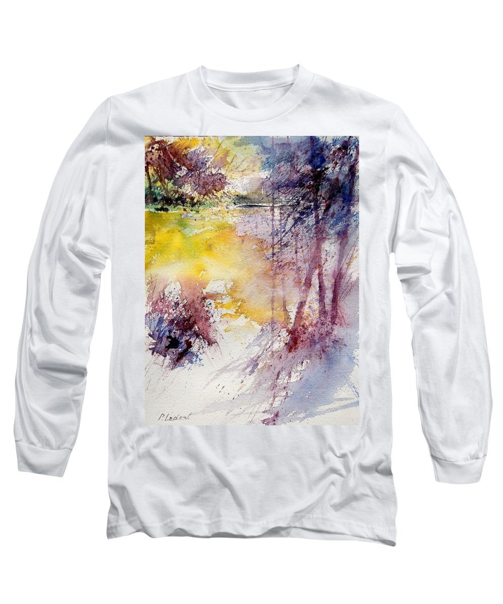 River Long Sleeve T-Shirt featuring the painting Watercolor 040908 by Pol Ledent