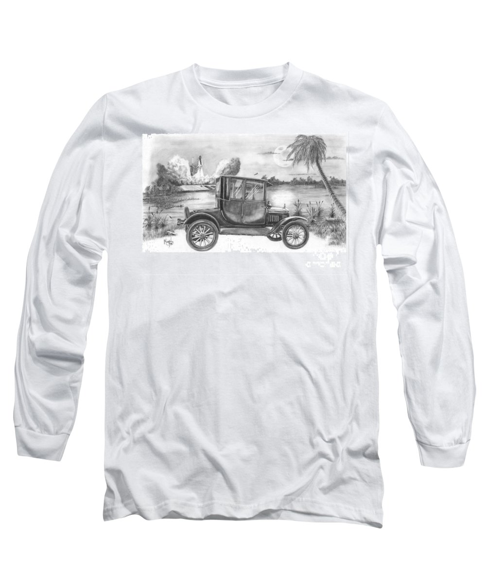 Pencil Long Sleeve T-Shirt featuring the drawing Yesterday And Today by Murphy Elliott