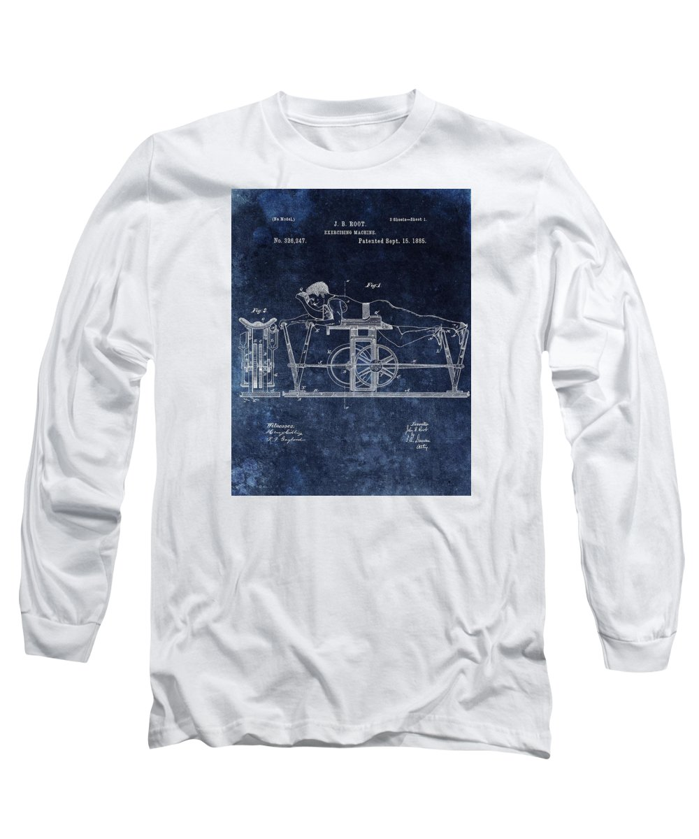 First Exercise Machine Patent Long Sleeve T-Shirt featuring the mixed media 1885 Exercise Machine Patent by Dan Sproul