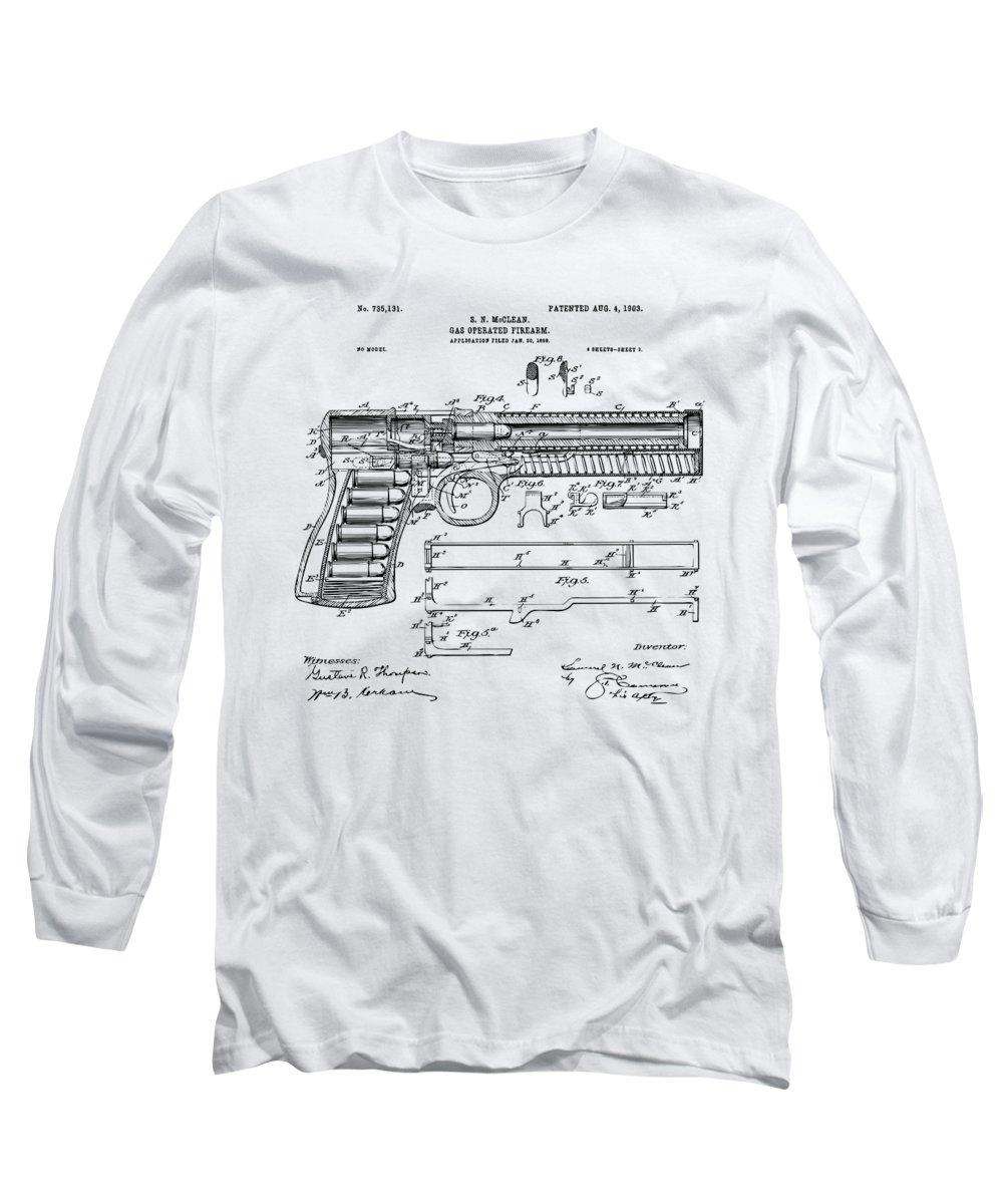 Gun Long Sleeve T-Shirt featuring the digital art 1903 Mcclean Pistol Patent Artwork - Vintage by Nikki Marie Smith