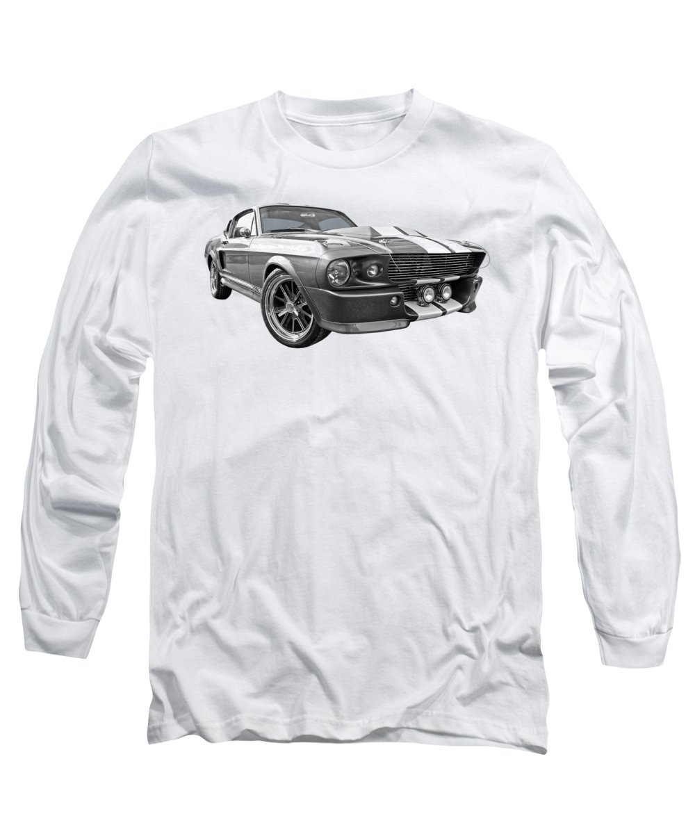 Ford Mustang Long Sleeve T-Shirt featuring the photograph 1967 Eleanor Mustang In Black And White by Gill Billington