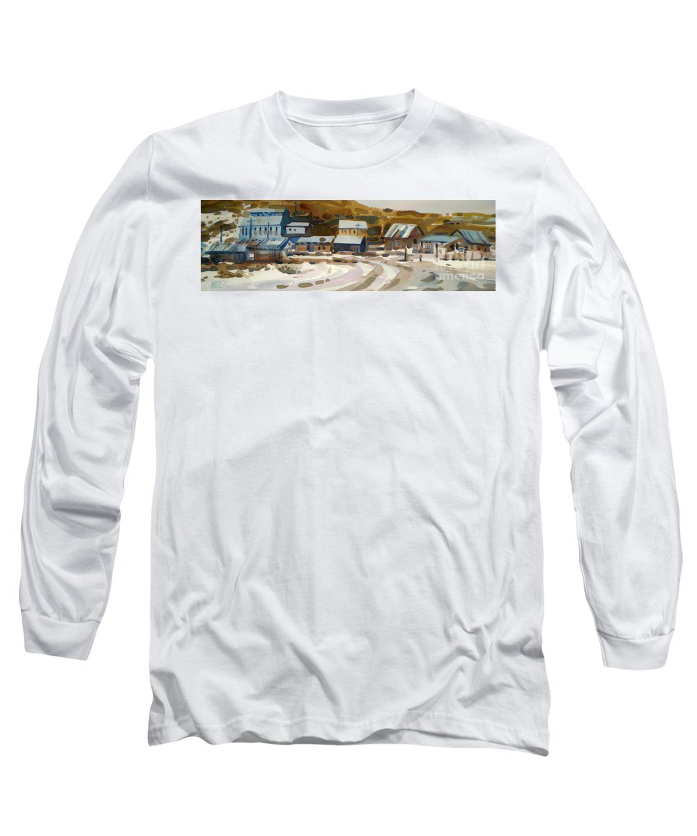Ghost Town Long Sleeve T-Shirt featuring the painting Bodie California 1979 by Donald Maier