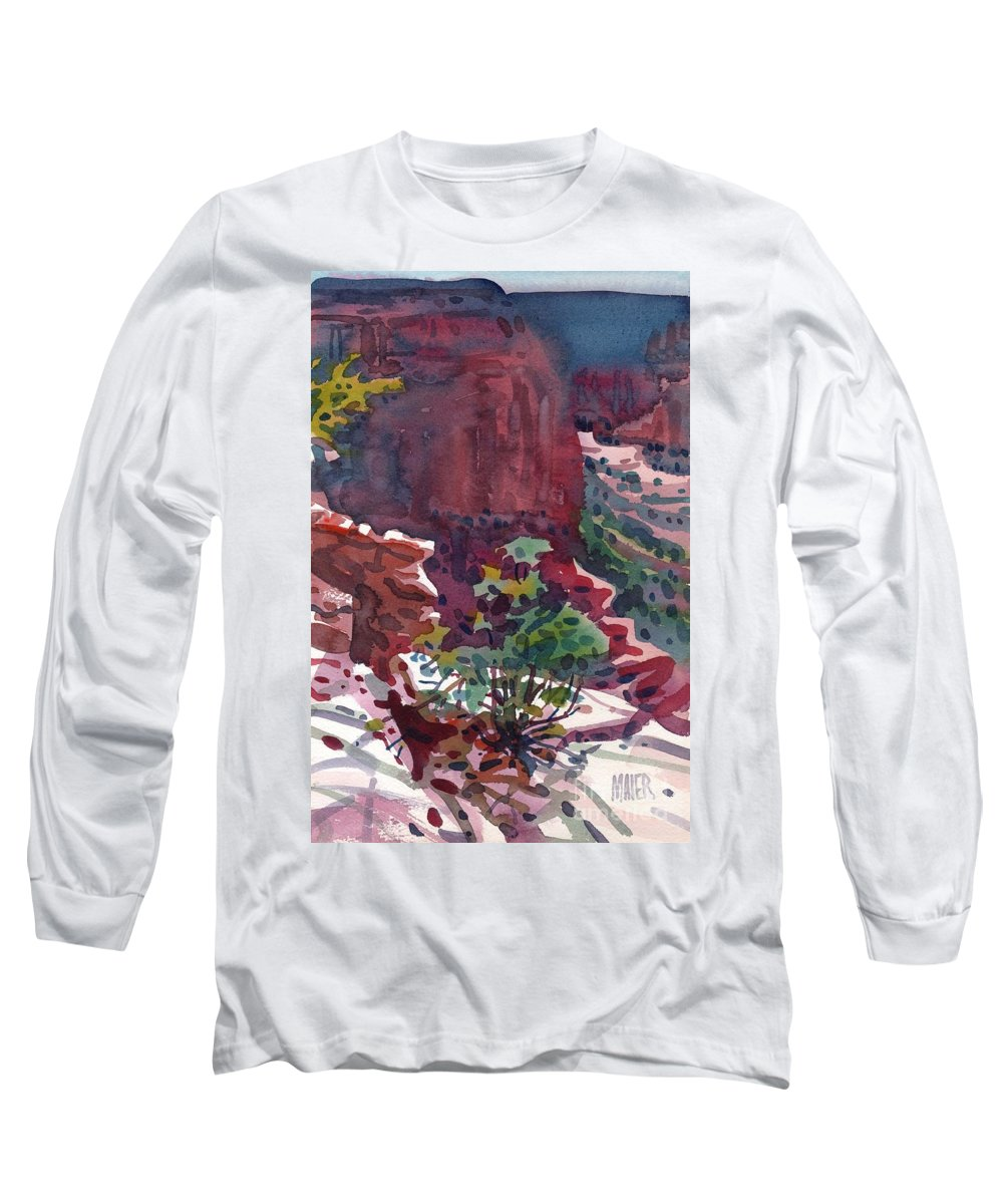 Canyon De Chelly Long Sleeve T-Shirt featuring the painting Canyon View by Donald Maier
