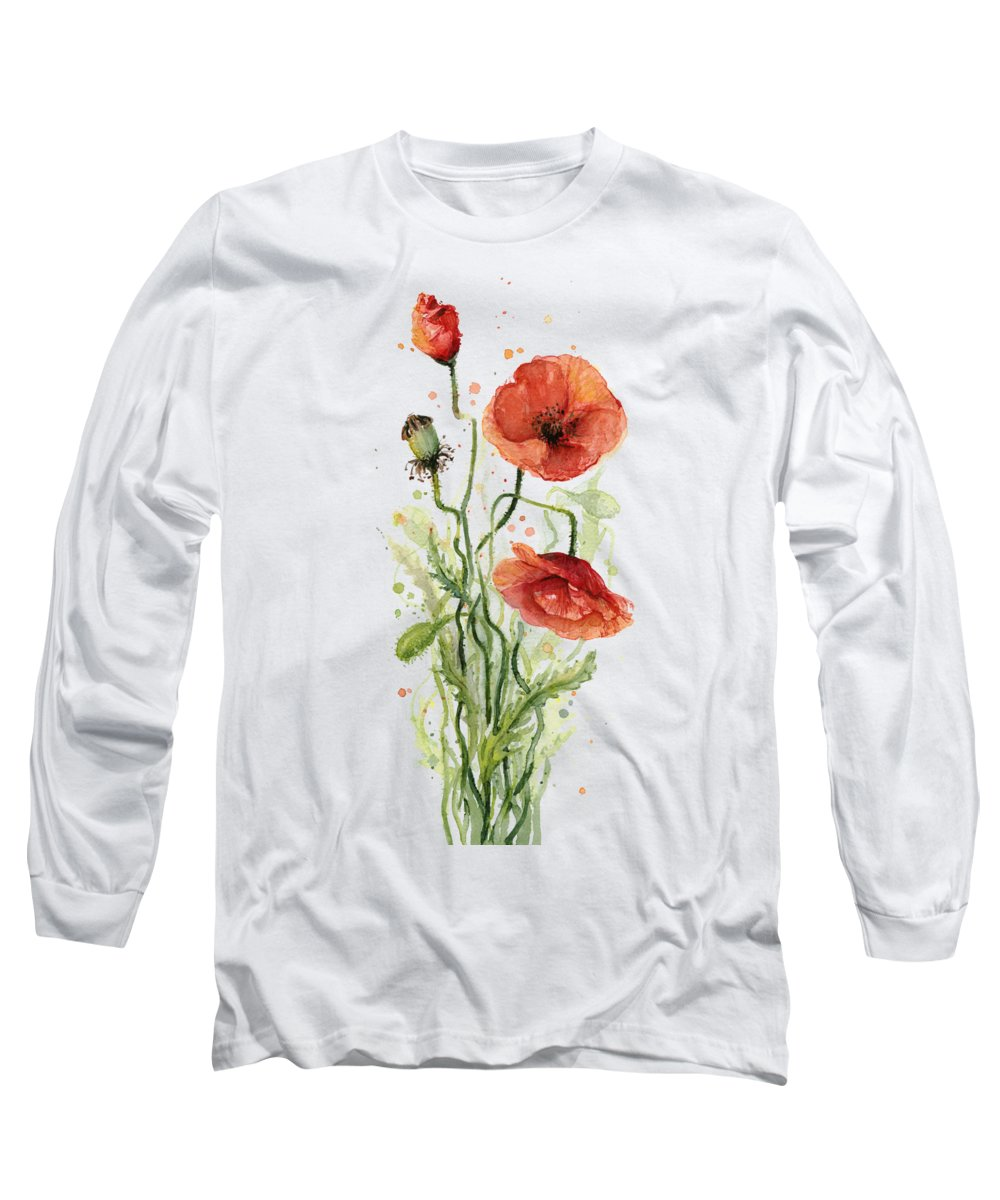 Red Poppy Long Sleeve T-Shirt featuring the painting Red Poppies Watercolor by Olga Shvartsur