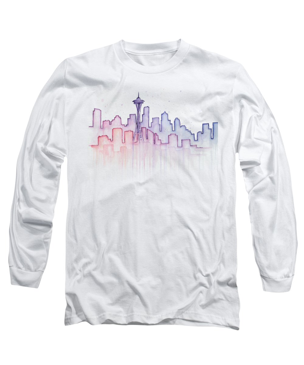 Watercolor Long Sleeve T-Shirt featuring the painting Seattle Skyline Watercolor by Olga Shvartsur